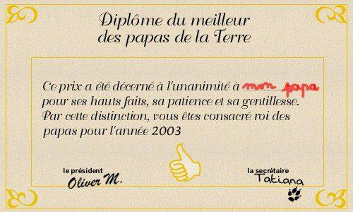 Carte dipl me du meilleur papa - Diplome du super papa a imprimer gratuit ...