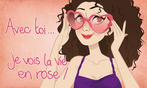 Carte La vie en rose - CyberCartes.com