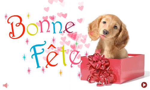 Carte un cadeau petit chien - Image de carte de fete ...