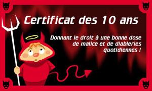Certificat des 10 ans