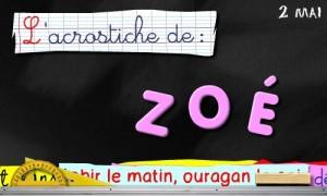 Acrostiche Zoé