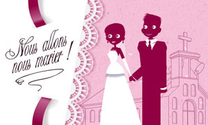 mariage carte anime - Carte Flicitation Mariage