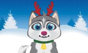 Faites parler le husky de Noël